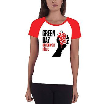 Green Day T Shirt American Idiot band logo Official Womens super Skinny Fit