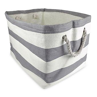Dii Paper Storage Bin Stripe Gray Rectangle Medium