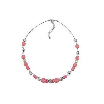 Collar rosa y plata-espejo cuentas de vidrio