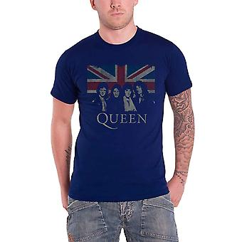 Queen T Shirt Union Jack classic band logo Official Mens Navy Blue