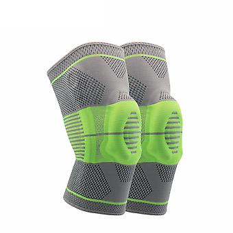 L Green 2PC Silicone Nylon Spring Confortable et respirant Sports Knee Pads