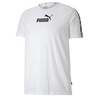 Puma Vahvistettu Tee Teipattu Rento Logo Graafinen T-paita Valkoinen 581384 02