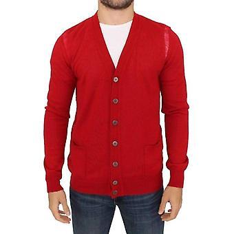 Karl Lagerfeld Red Wool Cardigan Sweater