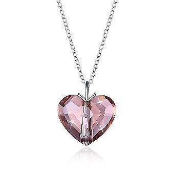 Sterling Silver Pink Beating Heart Swarovski Crystal Necklace