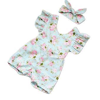 Baby Girl Lotus Flower Jumpsuit & Headband