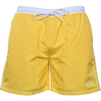 כוכבי ים BOSS לשחות מכנסיים קצרים, צהוב עם ניגודיות לבנה