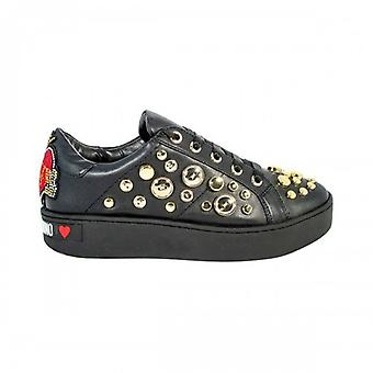 Women's Shoes Love Moschino Sneaker Black Faux Leather With Studs D20mo04