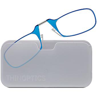 ThinOptics Armless Glasses with Universal Case - Blue Frame, White Pod