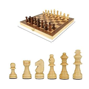 Magnetic Wooden Folding Chess Set With Felted Game Board