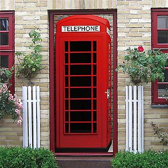 Red Telephone Self-adhesive Vinyl Decal Home Decor Door Poster