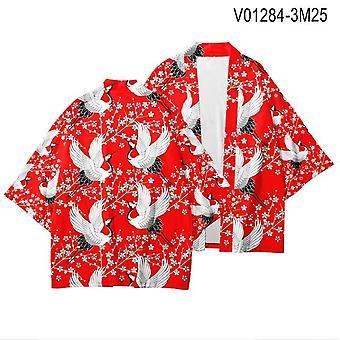 Crane Japanese Style Kimono Men Women Cardigan Dragon Vêtements traditionnels