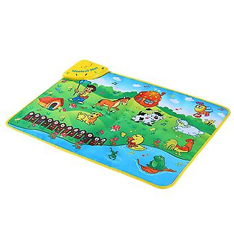 Colorful musical learning mat animal farm flash music carpet blanket touch toy for baby kids