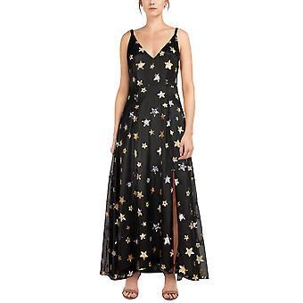 Chic Star Lantejoulas embelezada Maxi Vestido em preto