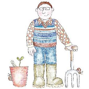 BH Gardening Man (Inca I) Wood Mounted Stamp