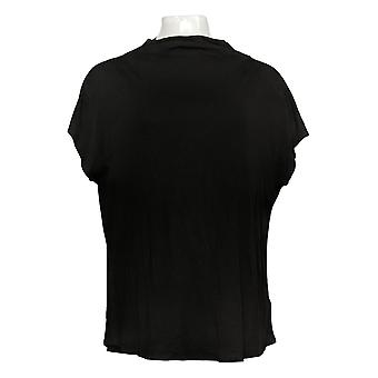 Lisa Rinna Collection Women's Top Short Sleeve Cowl Neck Black A391715
