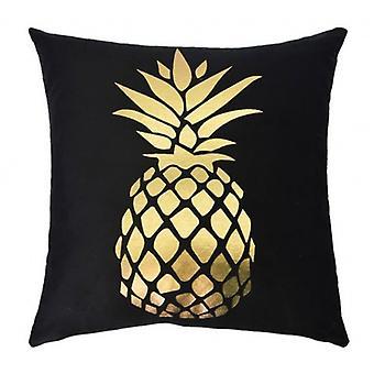 cushion pineapple 45 x 45 cm textile black/gold