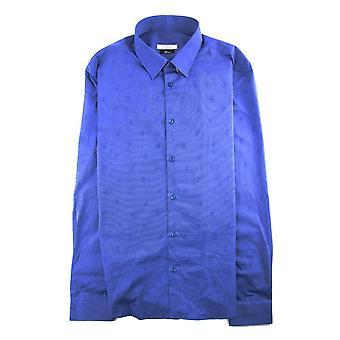 Coleção Versace em todo logotipo Imprimir L/s Camisa Azul Marinho