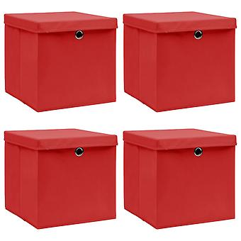 vidaXL Aufbewahrungsboxen mit Deckel 4 Stk. Rot 32×32×32cm Stoff