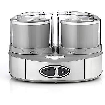 HanFei Eismaschine Ice Cream Duo inkl. 2 x 1L Eisbehälter um 2 Eissorten gleichzeitig zubereiten,