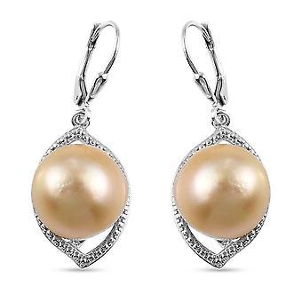 TJC Guld Pearl Drop Øreringe Platinbelagt Sølv 20ct