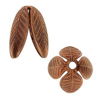 Nunn Design Bonnets de perles, Grande Leaf 14mm, 2 Pièces, Cuivre Antiqued