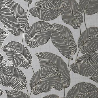 Larson Leaf Charcoal Gold Wallpaper