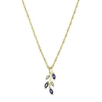 عمر - قلادة نسائية مع قلادة ذهبية 375، مع الزركون الأزرق والأبيض