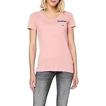 Tommy Jeans Tjw Essential V-Neck Logo Tee T-Shirt, Pink (Pink Te6), 36 (Size Manufacturer: XX-Small) Woman