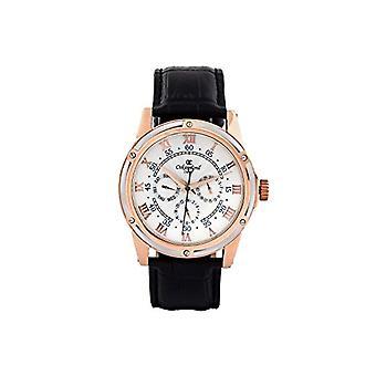 Oskar-Emil Classic Watches Halifax White/Rose Gold - Men's wristwatch, black leather strap