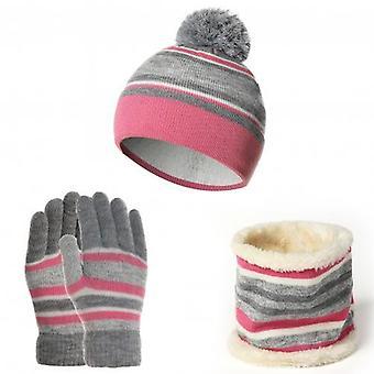 Kids Warm Hats Winter Woolen Neck Scarf Gloves Soft Cotton Elastic Set For Baby