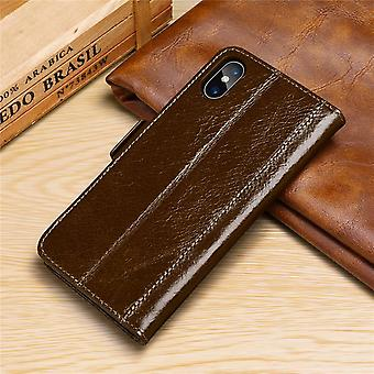 Wallet leather case card slot for iphonex/xs dark brown on995