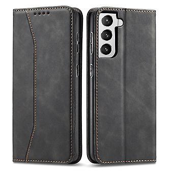 Flip folio leather case for samsung s21 ultra black pns-1533