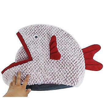 L rot halbgeschlossen fischförmige Cartoon Haustier Bett Katze Wurf x438