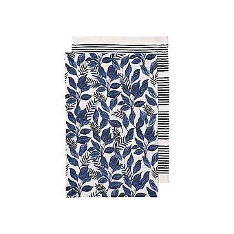 Ladelle Tierra Pack of 2 Tea Towels, Blue