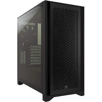 Corsair 4000D Airflow Gaming Case mit gehärtetem Glasfenster, E-ATX, 2 x AirGuide Lüfter, High-Airflow Frontpanel, USB-C, Schwarz