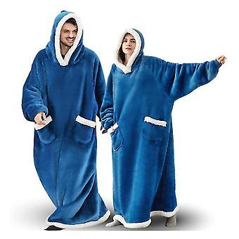 المتضخم يمكن ارتداؤها مقنعين طويلة الشتاء التفاف دافئ مع الصوف شيربا لينة (الأزرق)