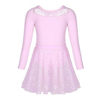 Girls Ballet Dance Gymnastics Lace Skirt Long Sleeve 2Pc 1Set 150cm Pink(Pink)
