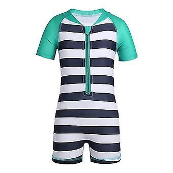 Baby ein Stück Kurzarm gestreift UPF 50 + Sonnenschutz Badeanzug 6-12Monate