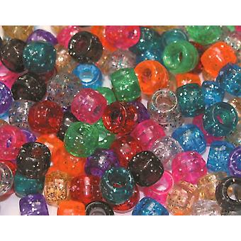 Assorted Glitter Pony Beads for Kids Crafts - 1000pk