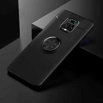 Keysion Xiaomi Mi Note 10 Pro Case with Metal Ring - Auto Focus Shockproof Case Cover Cas TPU Black + Kickstand