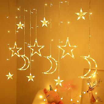 Homemiyn Led Star Moon Curtain String Lights, Cortina de ventana Luces alimentadas por USB con control remoto