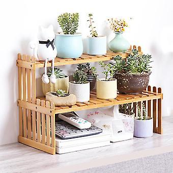 Træ opbevaring Rack Bambus Flower Display Stand Plant Hylder Dekorativ Opbevaring Hylde