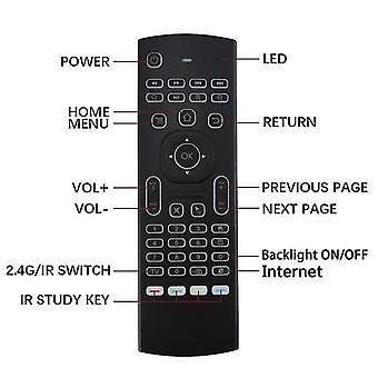 Mx3 luchtmuis slimme spraak afstandsbediening ir leren 2.4g rf draadloze mini toetsenbord verlicht voor