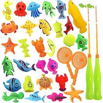 Магнитная рыбалка бассейн игрушки игра 33pack для детей, с шестом удочки сеть