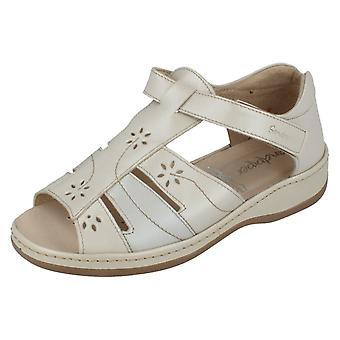 Ladies Sandpiper Velcro Fastening T-Bar Sandals Carly