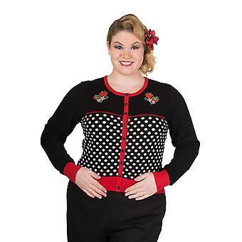 Banned - paradise city - long sleeve polka dot cardigan- plus size