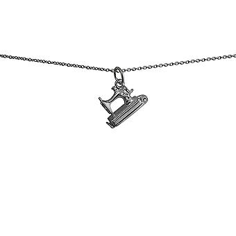 Silver 11x11mm moveable Sewing Machine Pendant with a rolo Chain 24 inches