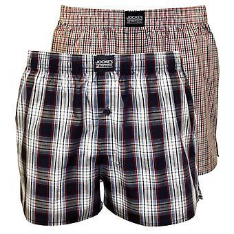 Jockey 2-Pack pläd & kontrollera skriva ut vävda boxershorts, röd/blå/vit