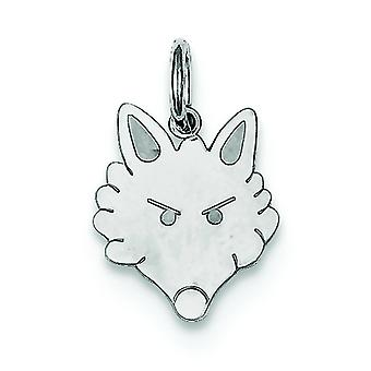 925 Sterling Silber flach Solid Fox Kopf Charme - .5 Gramm