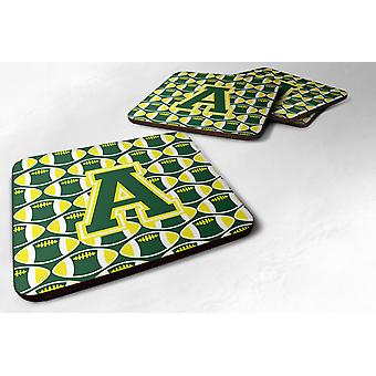 Set of 4 Letter A Football Green and Yellow Foam Coasters Set of 4